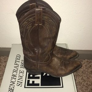 Frye Cowboy Boots- Billy pull on- dark brown